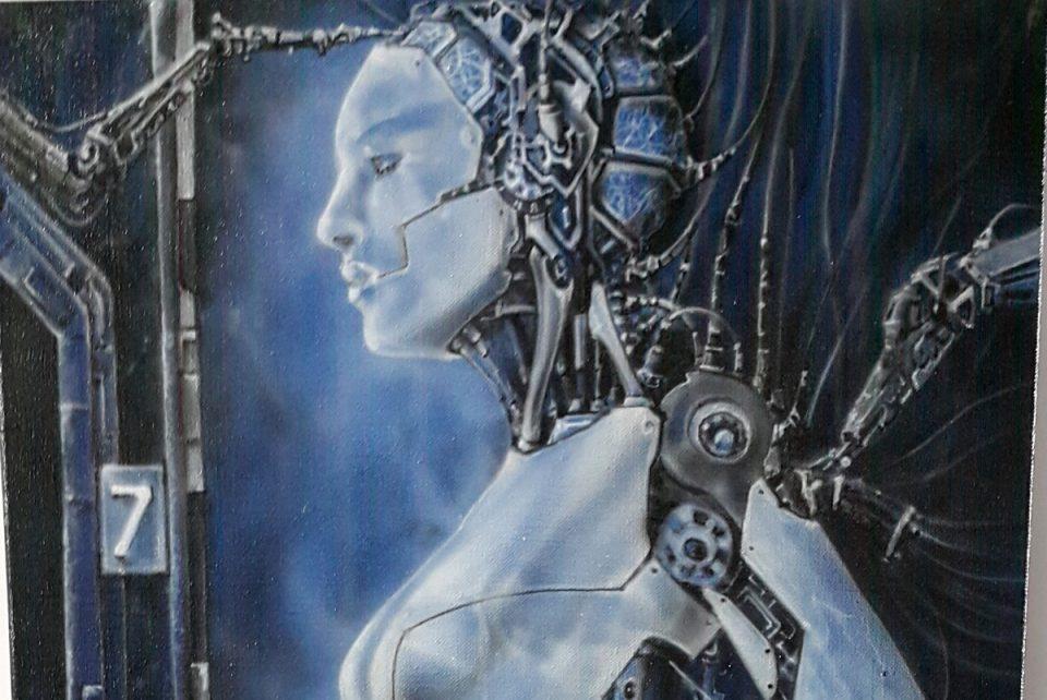 """Obraz surrealistyczny """"Prototyp człowieka"""" namalowany na płótnie, malarstwo współczesne"""