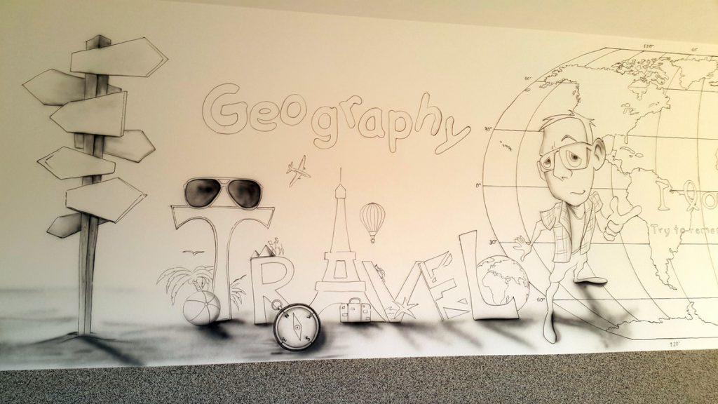 Malowanie napisu na ścianie, kolorowe loga na ścianie ręcznie namalowane