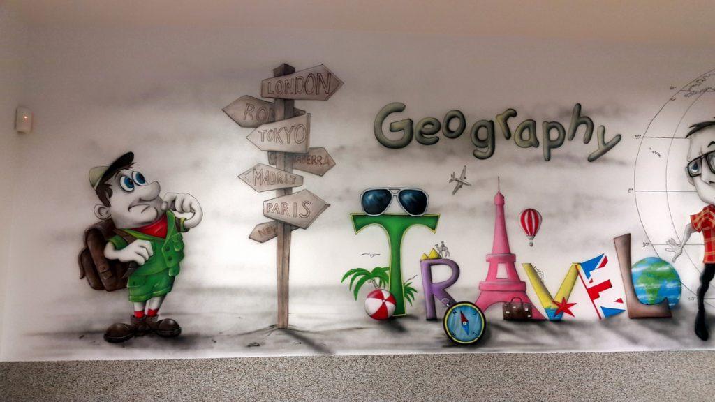Malowanie sali geograficznej, mural w klasie geograficznej,