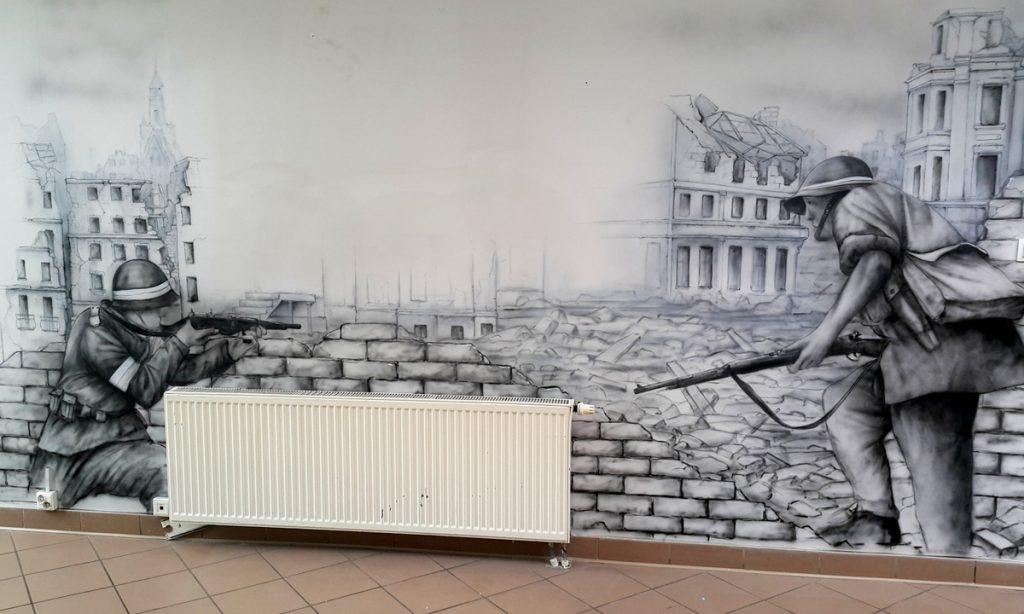 Mural - Powstanie Warszawskie, mural patriotyczny na uczelni Łazarskiego