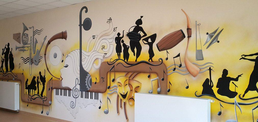 Mural w sali muzycznej, malowanie sali muzycznej