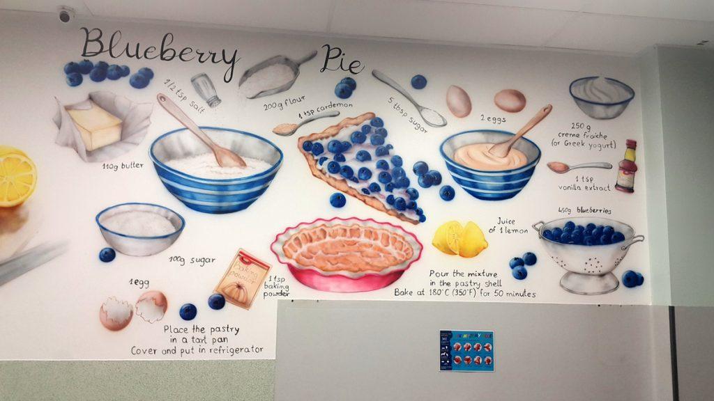 Mural na stołówce, malowanie stołówki w szkole, mural 3D