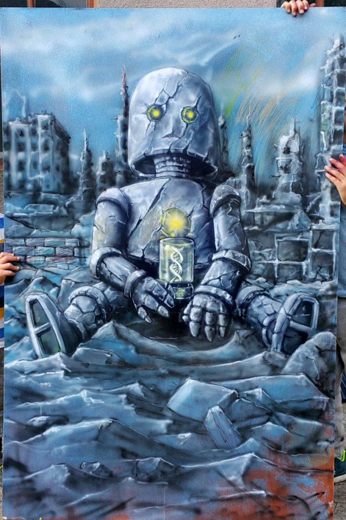 Obraz w klimacie post apo, robot, malowanie robotów obrazy do nowoczesnych wnętrz,