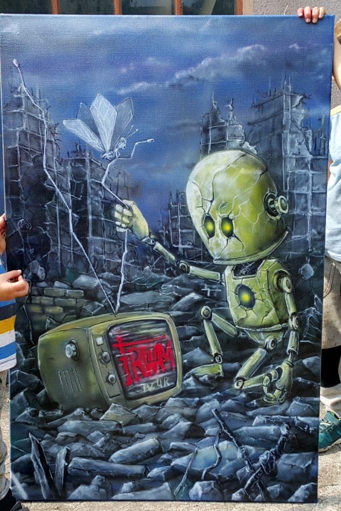 Malowanie obrazów na płótnie, nowoczesne obrazy o tematyce post apo, obrazy olejne