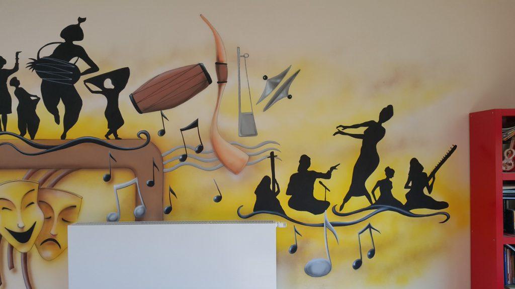 Muzyczny mural namalowany w klasie muzycznej szkoły podstawowej
