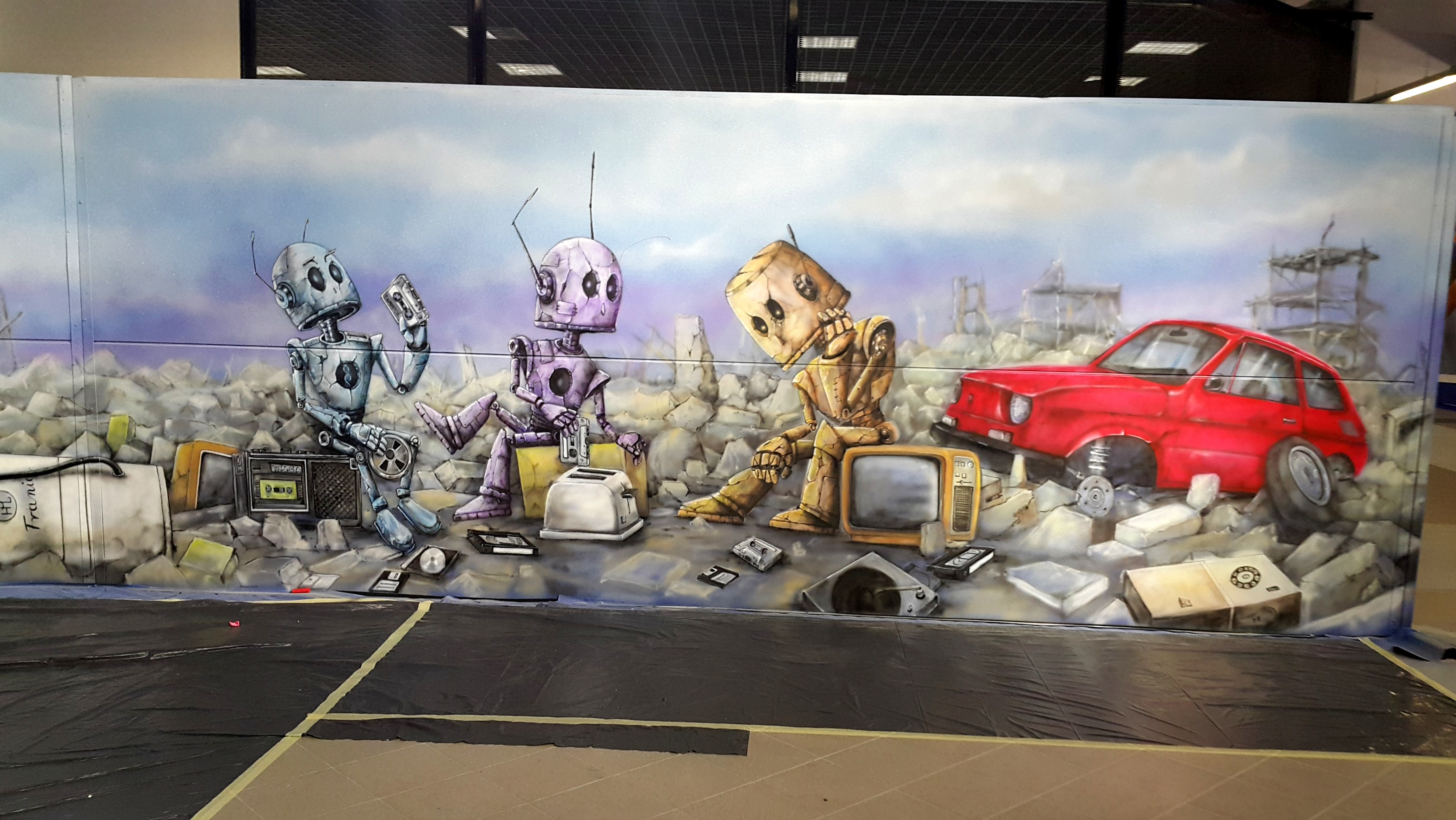 Mural Tasmowe nośniki pamieci, ariel kula, Comic Con
