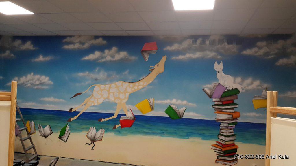 Mural w szkole, aranżacja szkolnego korytarza