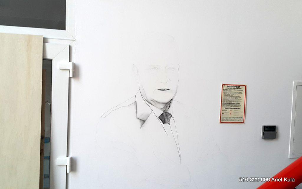 Mural w firmie, malowanie portretu założyciela, malowanie biura