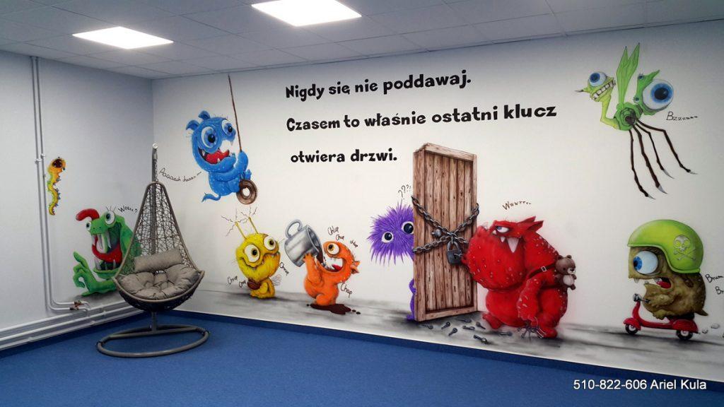Chillout room, mural w sali relaksacyjnej klasy szkolnej