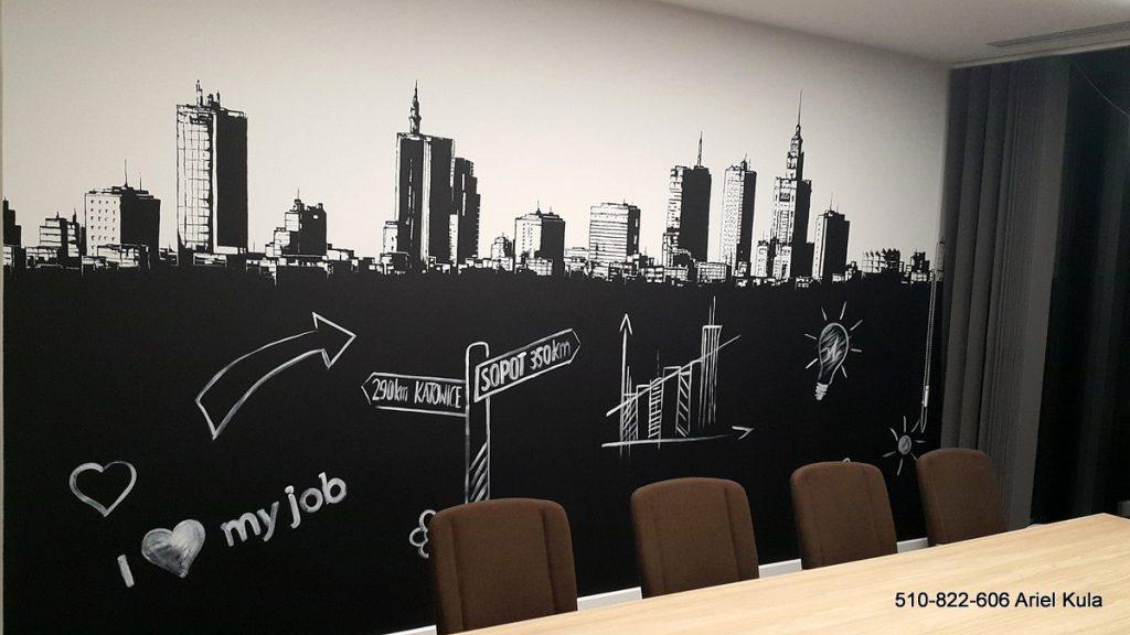 praktyczne zastosowanie farby tablicowej na ścianie w biurze