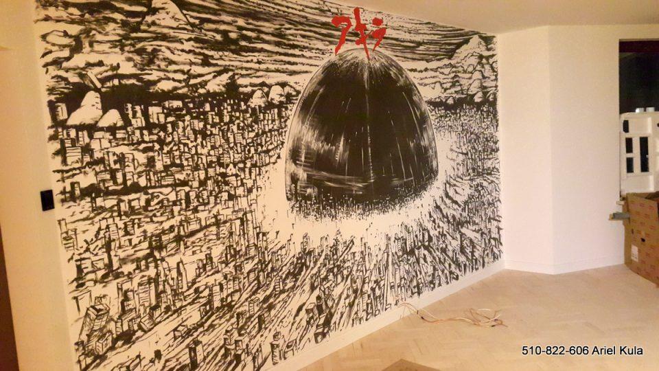 Akira, mural na ścianie w salonie, grafika czarno biała,