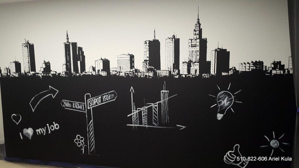Malowanie farbą tablicową ściany w sali konferencyjnej, aranżacja biura poprzez malowanie