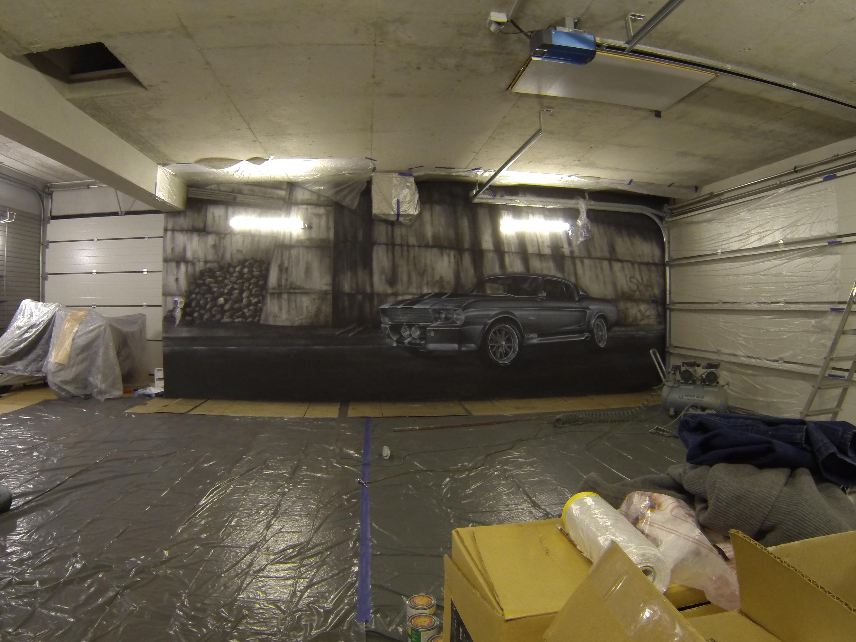 Malowanie samochodu na ścianie, mustang GT 500, mural 3D