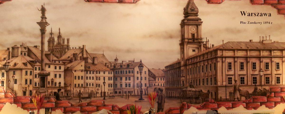 Mural Panorama warszawy namalowana w restauracjii