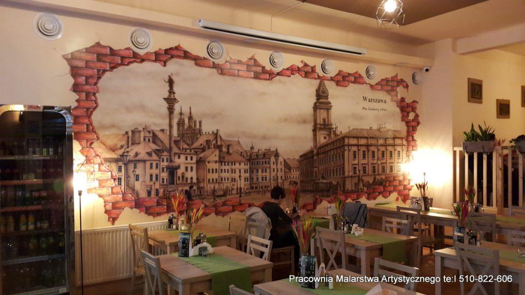 Aranżacja restauracji, mural w restauracji, artystyczne malowanie ścian