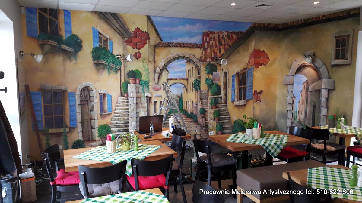 Artystyczne malowanie ścian w pizzerii, aranżacja pizzerii