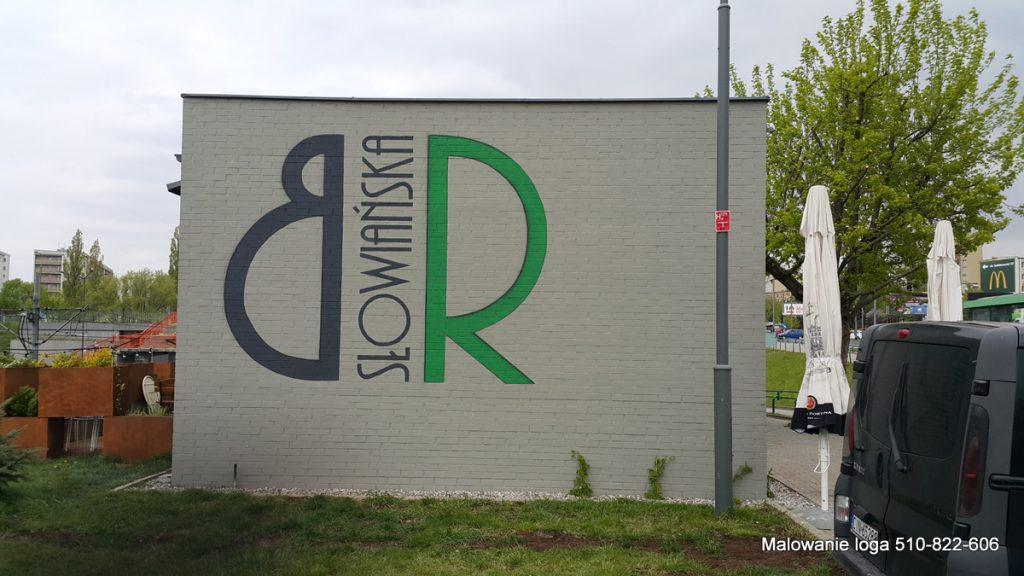 logo na elewacji, Malowanie loga na ścianie, napisy ręcznie malowane, malowanie logotypów