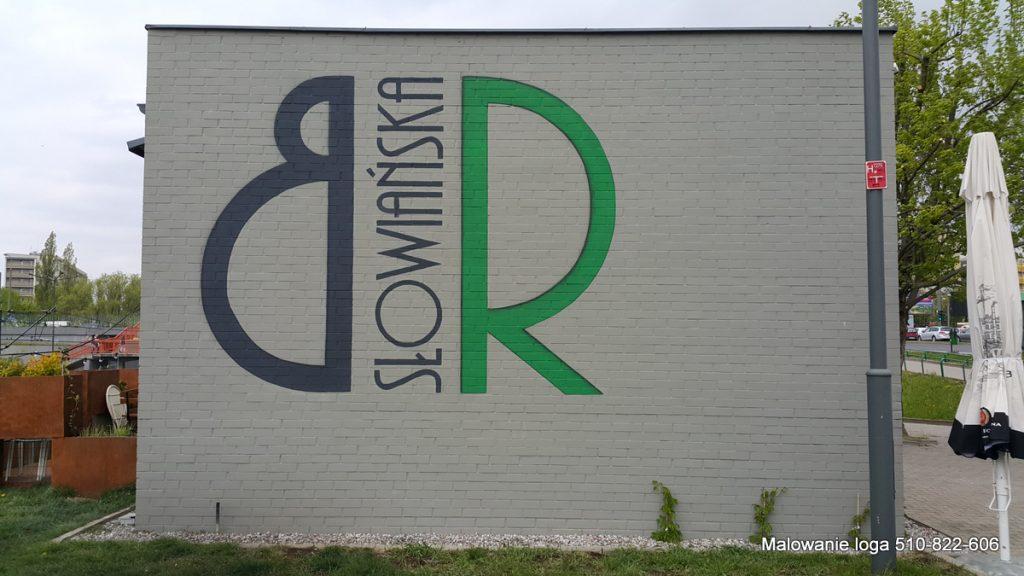 logo na elewacji, Malowanie znaków firmowych na ścianach, malowanie loga i logotypów dla firm