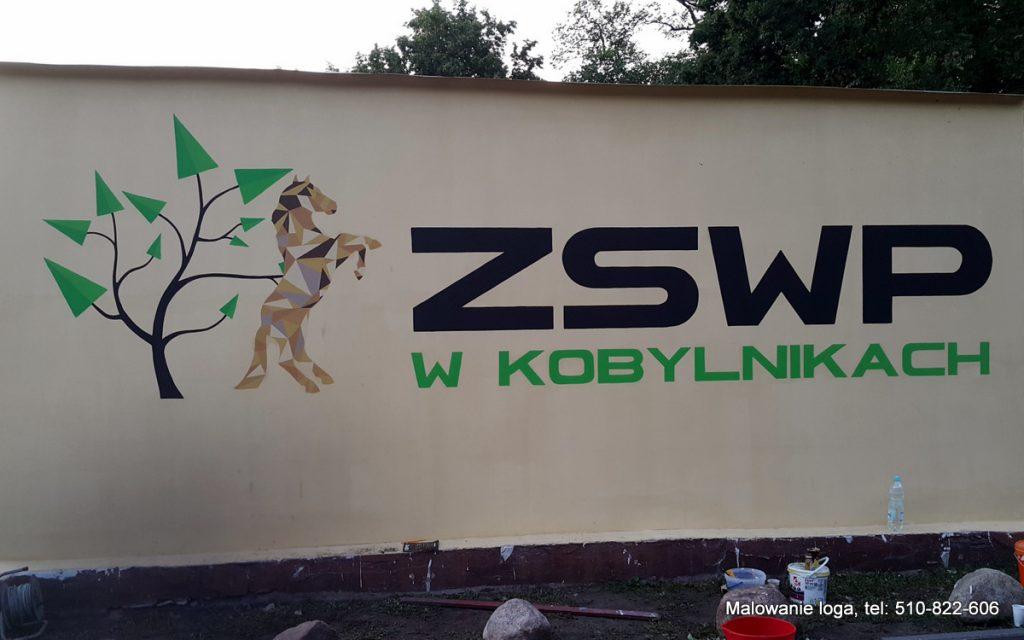 Malowanie loga na szkole, mural 2D przedstawiający logotyp