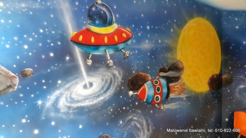 Malowanie sali zabaw w motyw kosmiczny, malowanie kosmosu w sali zabaw