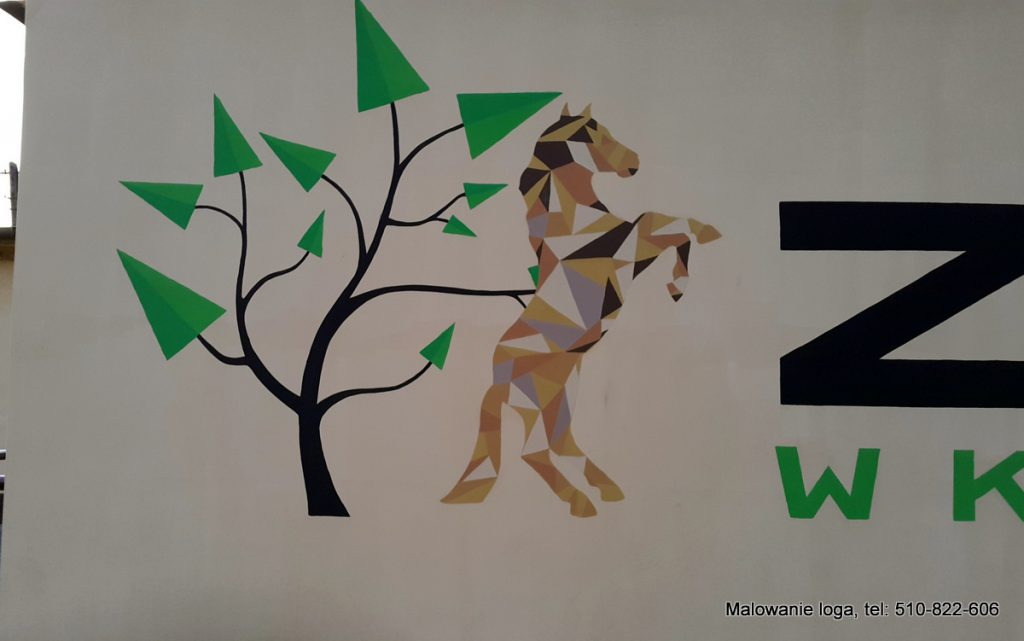 Malowanie loga na szkolnym korytarzu logo ręcznie malowane, malowanie logotypu 3D