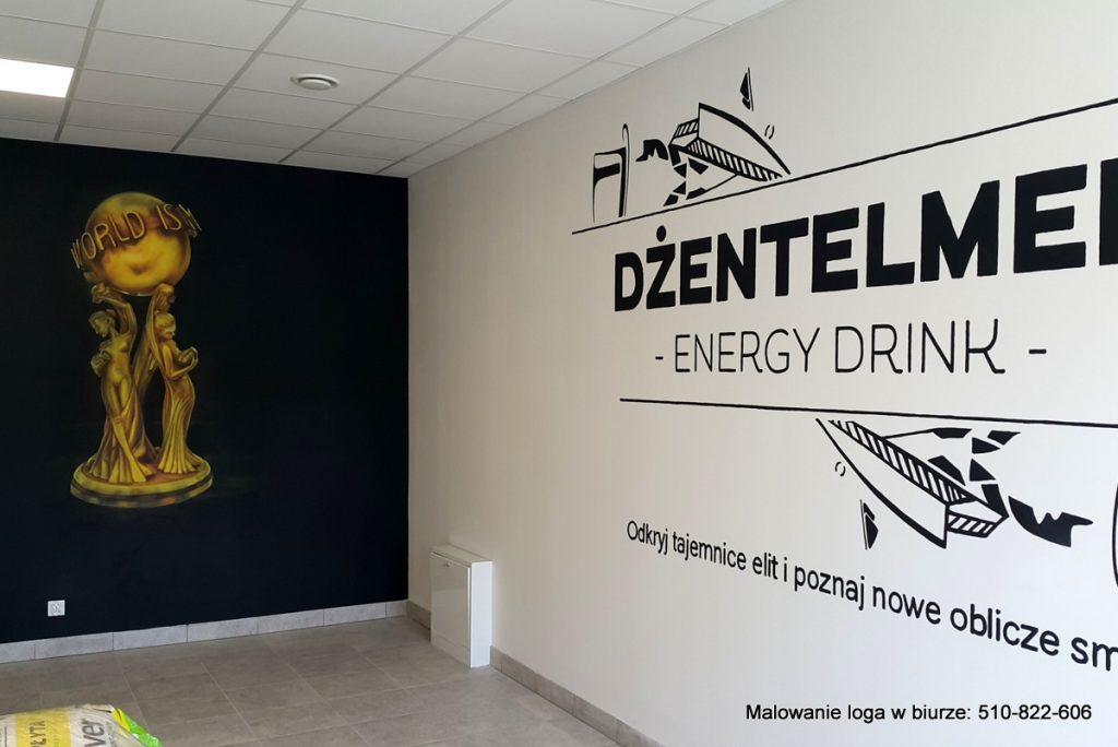 Aranżacja sciany w biurze poprzez malowanie loga na ścianie