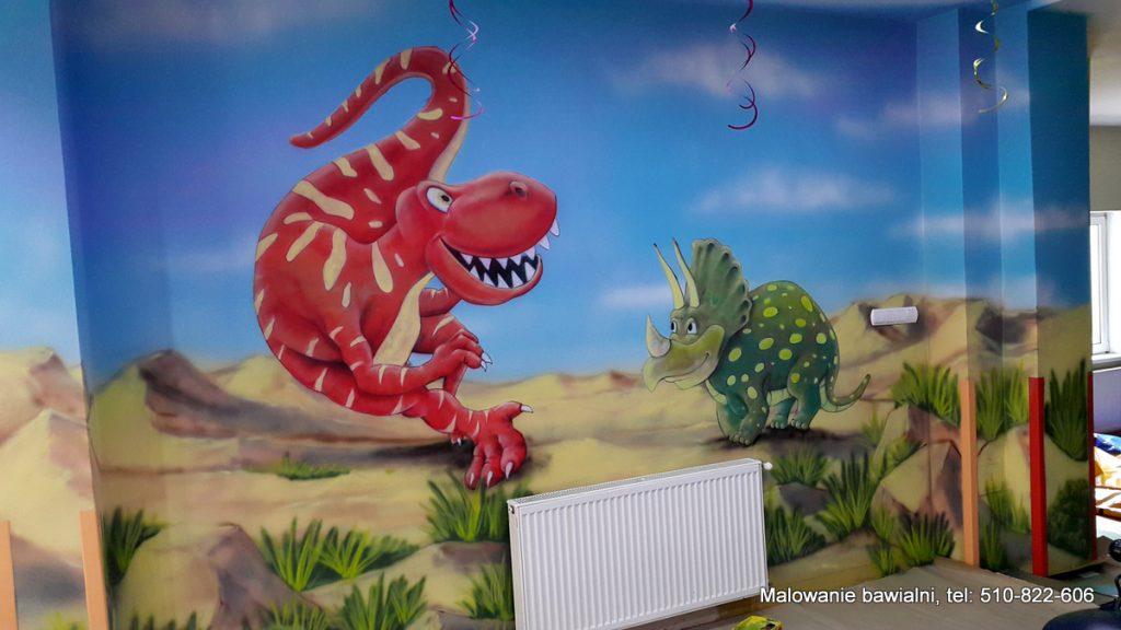Malowanie w sali zabaw dinozaura, graffiti w bawialni
