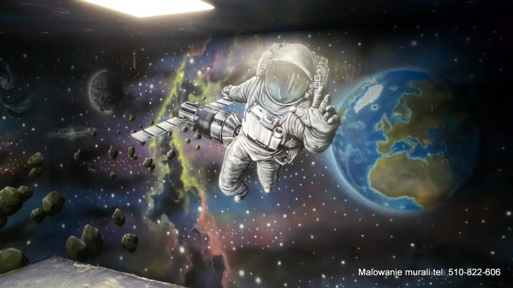 Malowanie sali zabaw, kosmos, astronauta, mural 3D galaktyka