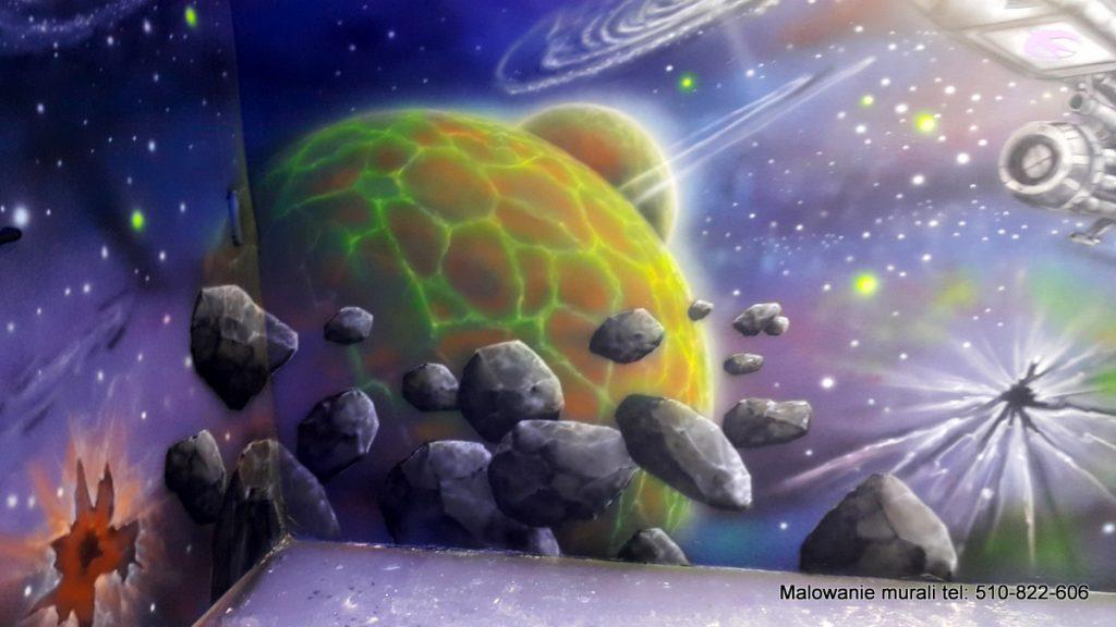 Malowanie sali za przedstawiający kosmosbaw dla dzieci, mural 3D