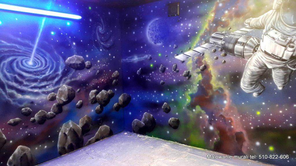 Kosmos, malowanie sali zabaw dla dzieci, Bajkoland jarocin sala zabaw