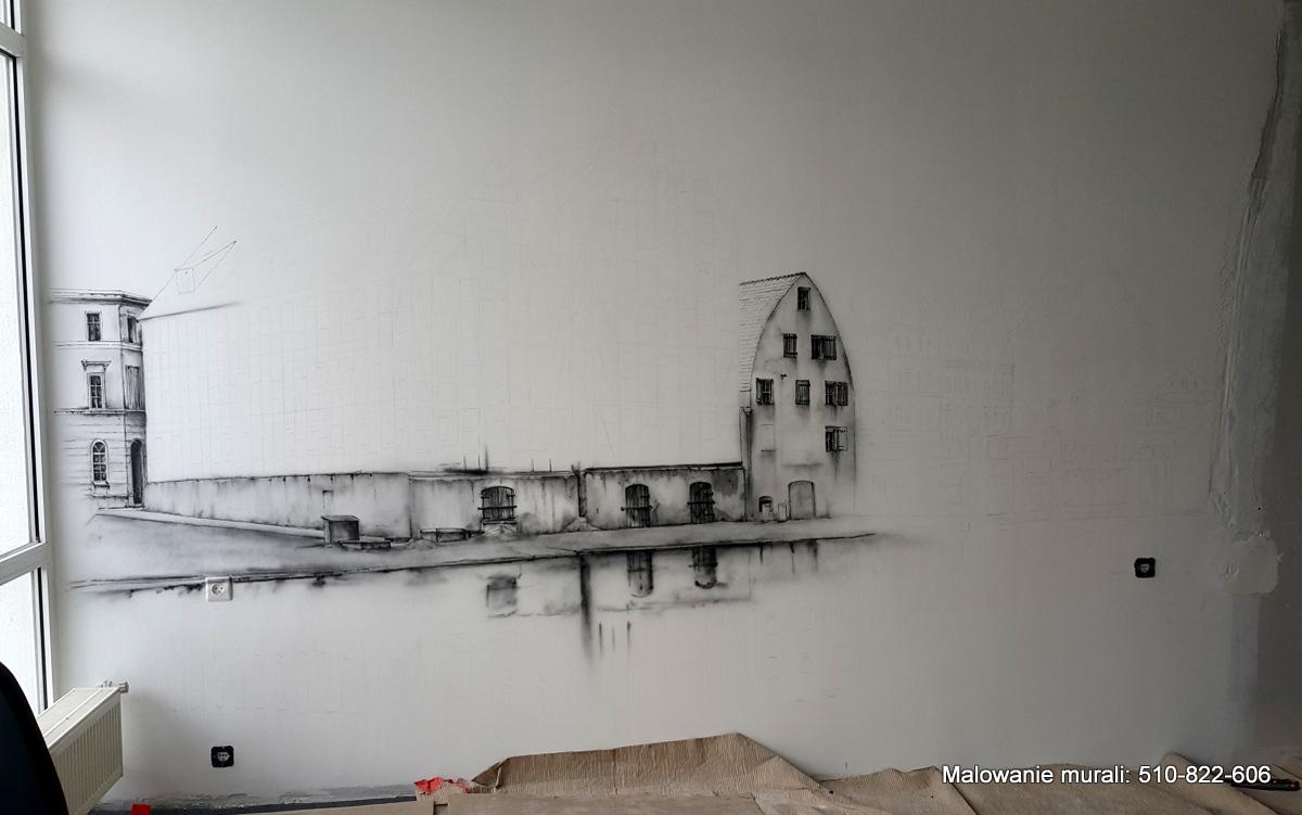 Malowanie muralu w firmie na ścianie, mural w czarno bieli