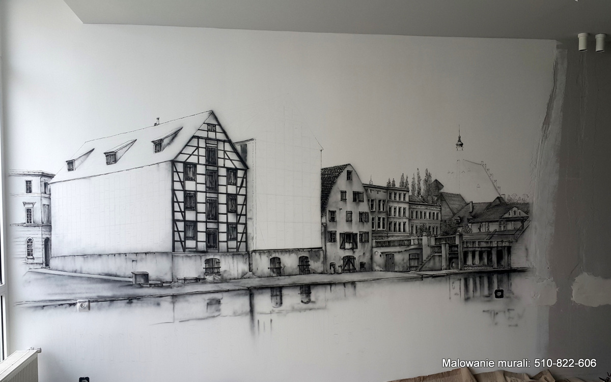 Malowanie obrazu na scianie w chillout room w firmie, malowidło ścienne przedstawia bydgoskie spichrze