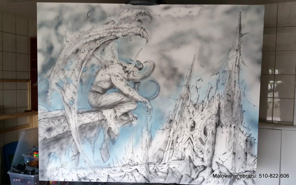 Malowanie obrazu na płótnie motyw z gry Worcraft