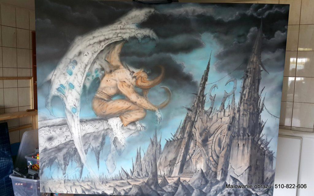 Malowanie obrazu na zamówienie postać Lilidana z gry Worcraft,
