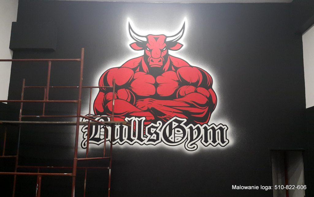 Logo w siłowni, malowanie graffit 3D w siłowni