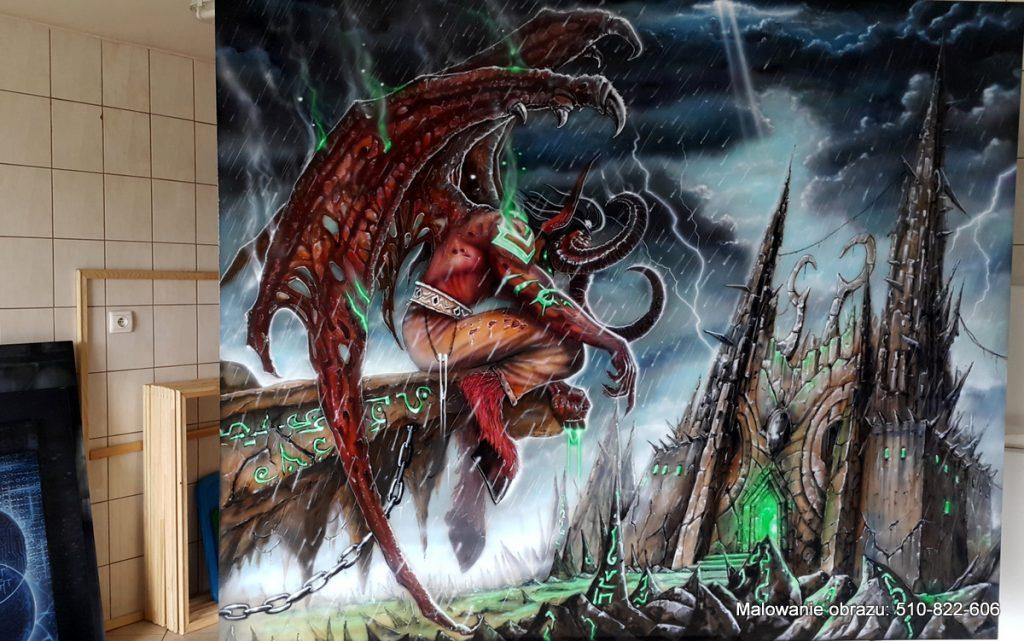 Malowanie dużego obrazu olejnego, postać Lilidana z gry Warcraft, duże obrazy olejne