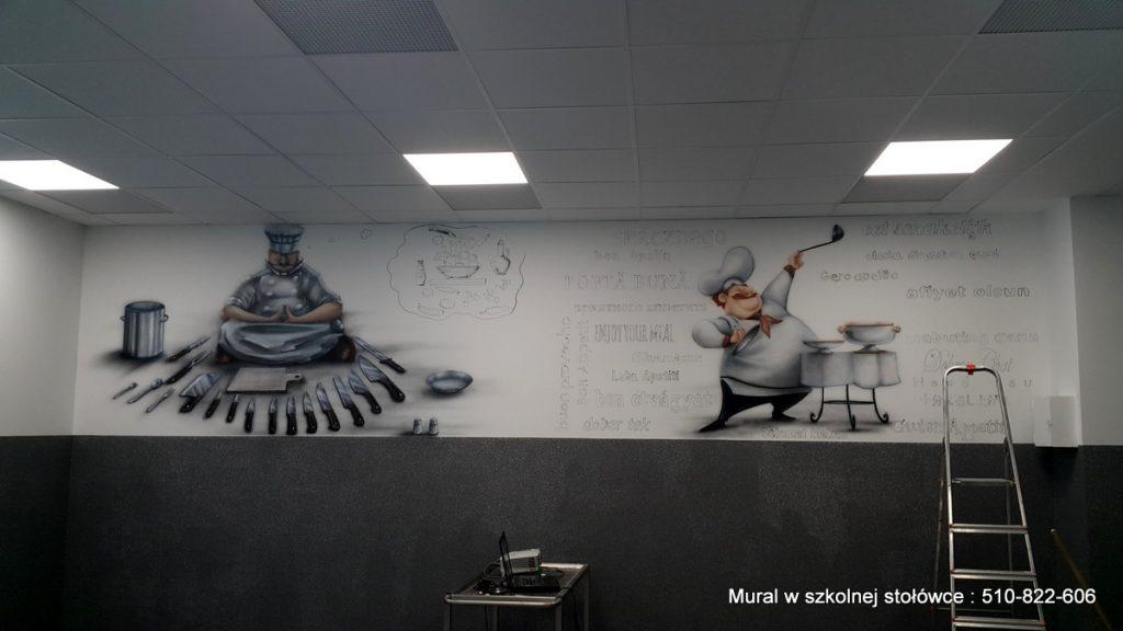 Mural w szkolnej stołówce, malowanie obrazu na ścianie