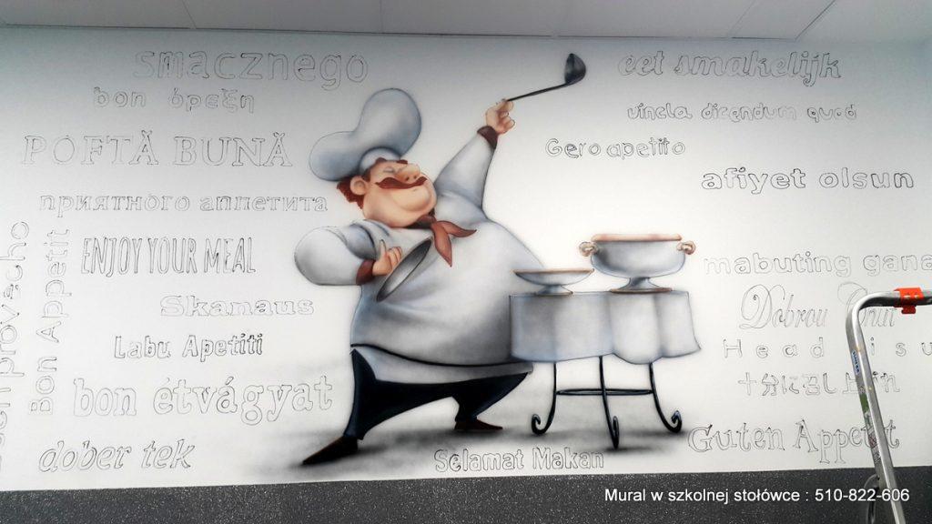 Malowanie kucharza w szkolnej stołówce, kucharz, mural 3D