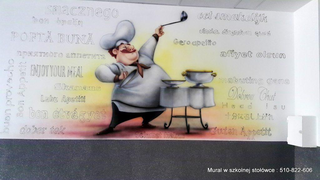 Malowanie kucharza w szkolnej stołówce, mural 3D w szkole, aranzacja jadalni w szkole podstawowej