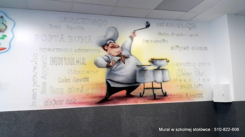 Malowanie muralu w szkolnej stołówce, malowidło ścienne przedstawiające kucharza