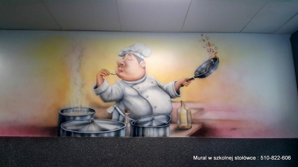 Mural na stołówce, zagospodarowanie ściany w szkolnej stołówce,