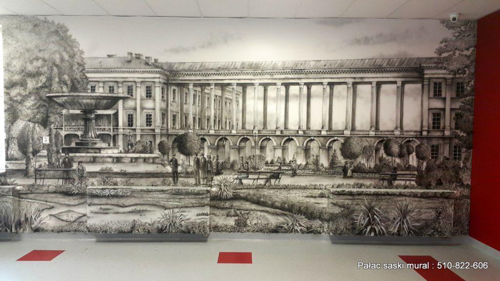 Historyczny Mural w czarno bieli wykonany w szkole podstawowej nr 355 w Warszawie