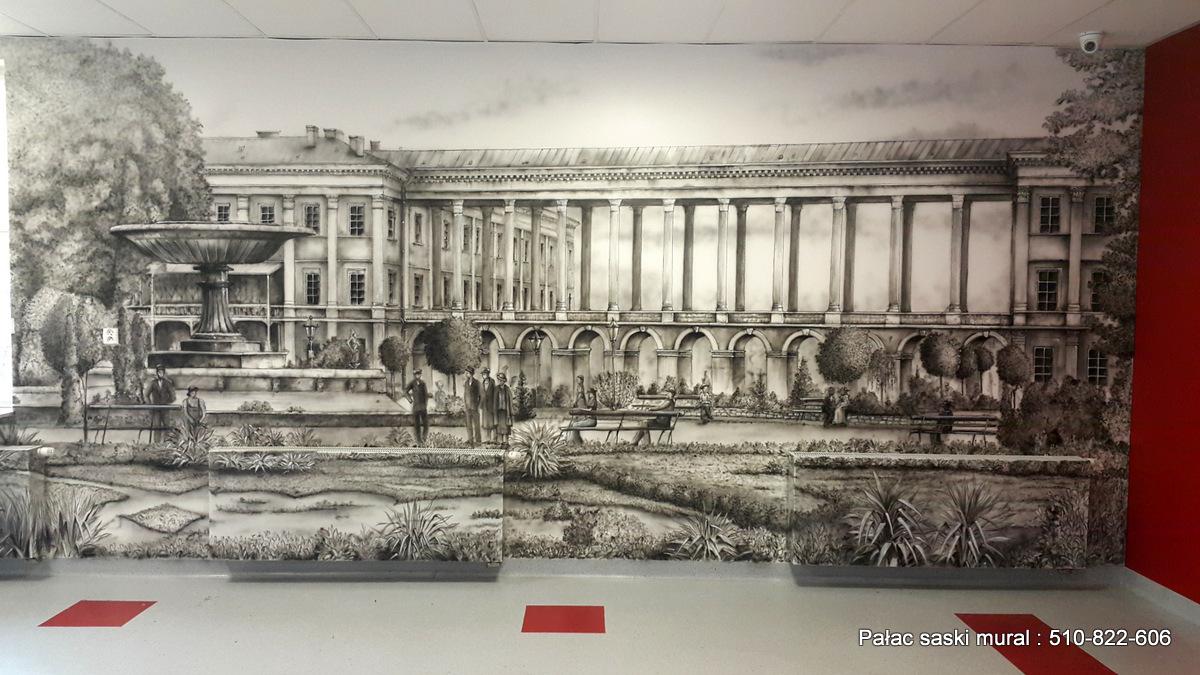 Ogród saski, mural historyczny wykonany w szkole w Warszawie na Ceramicznej 11