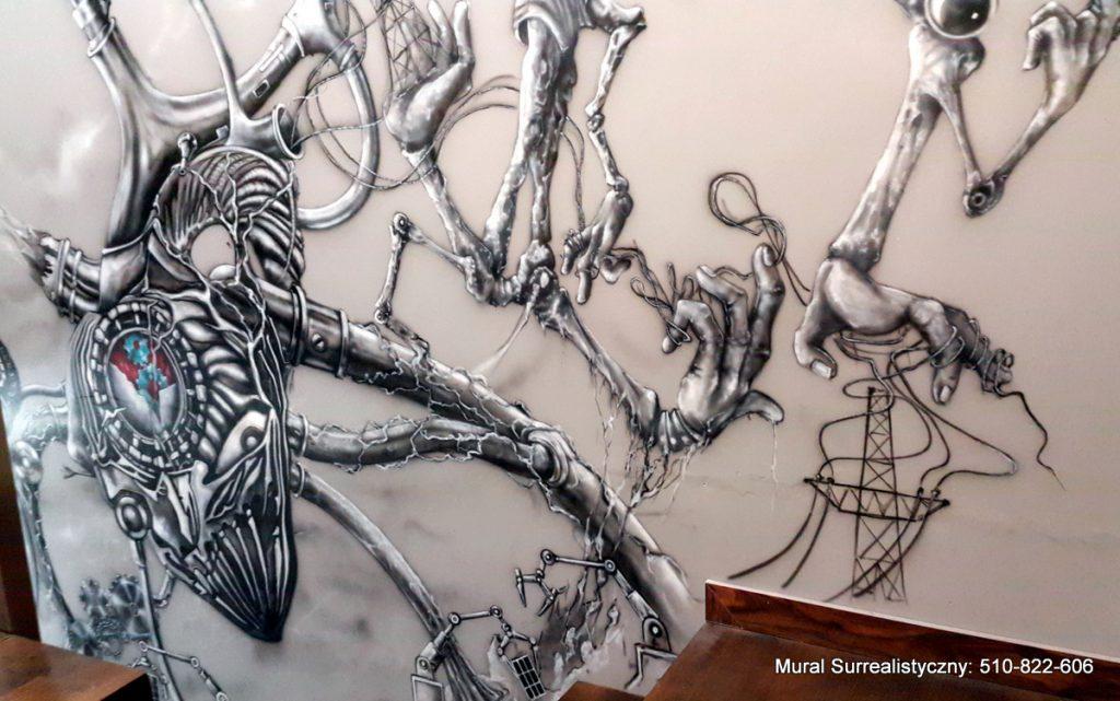 Malowanie obrazu na scianie w czarno bieli, mural monoc-hromatyczny