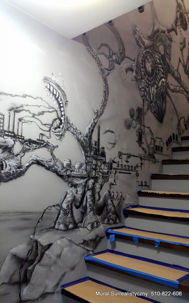 Mural w czarno bieli, artystyczne malowanie ścian, Toruń malowanie murali