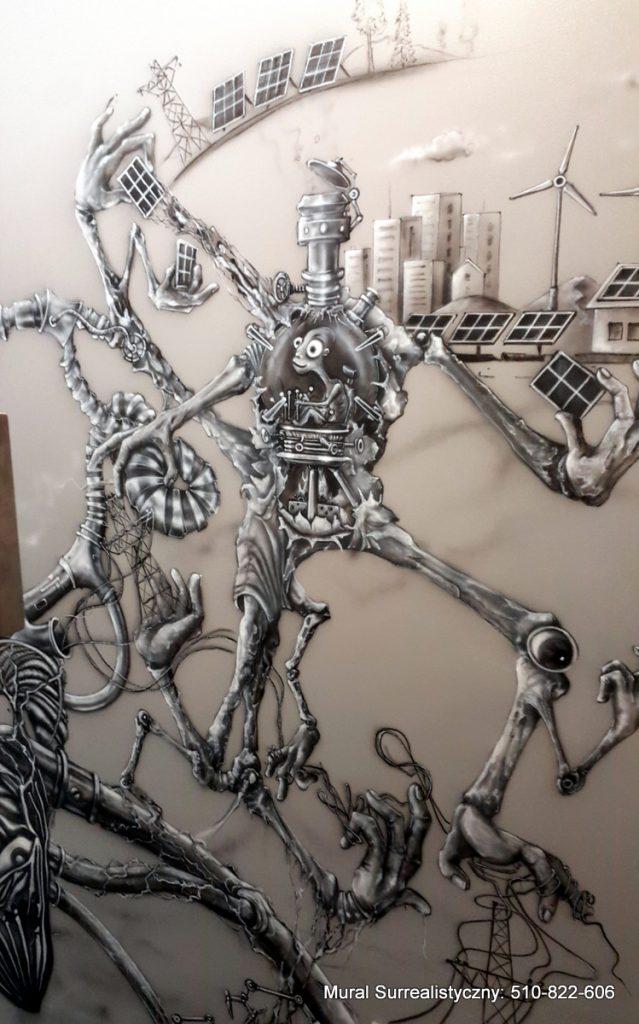 Mural w czaranobieli, artystyczne malowanie ścian 3D