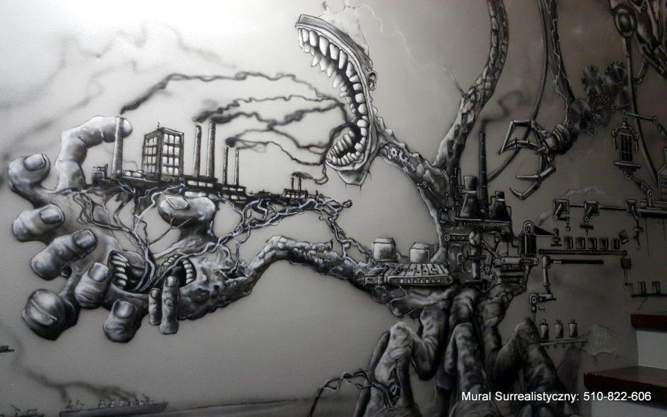 Surrealistyczny mural namalowany na ścianie klatki schodowej, malowidło w czarno-bieli