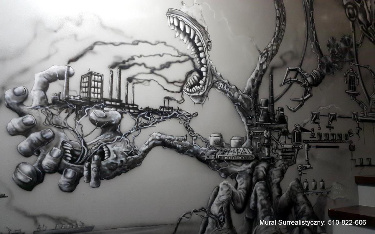 Mural czarno-biały przedstawiający proces technoloigicznych zmian