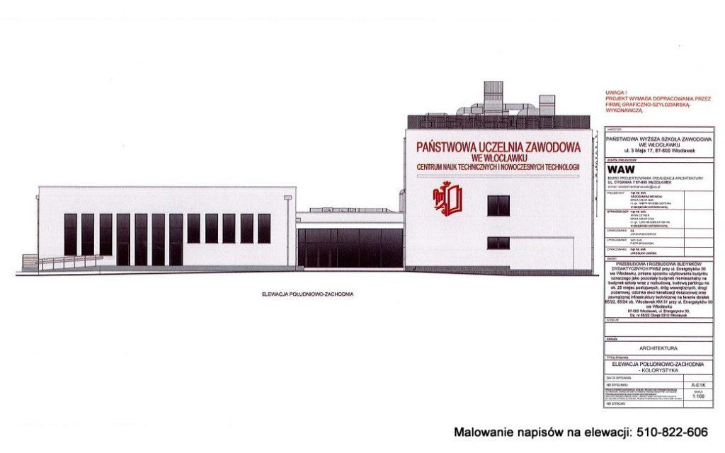 Projekt napisów na elewacji budynku szkoły