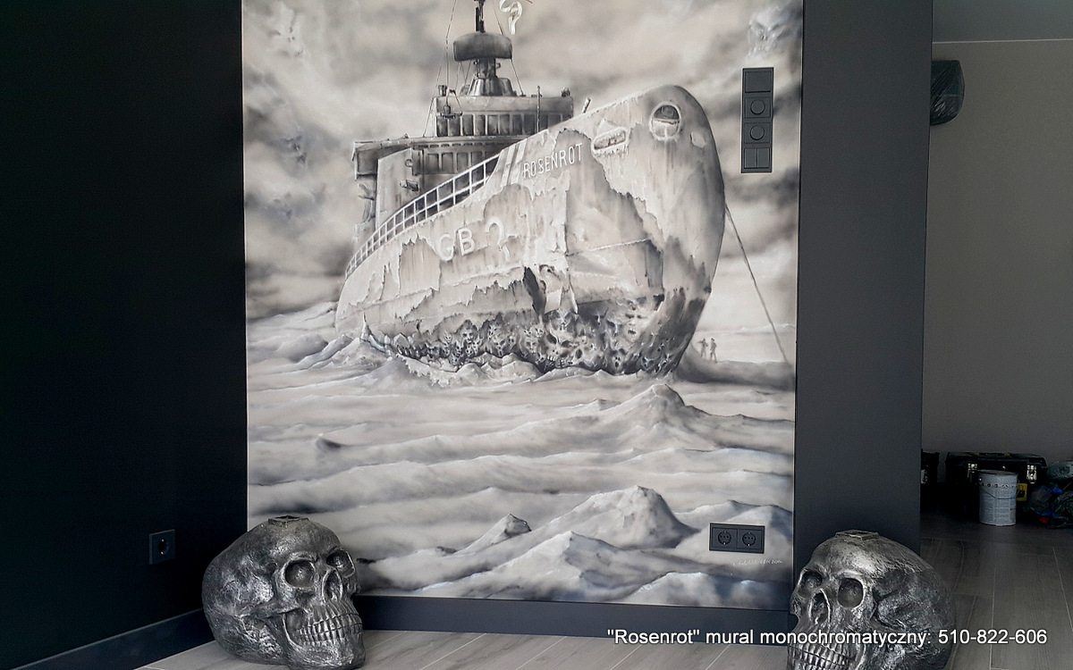 Malowanie obrazu na ścianie w lofcie, czarno biały obraz namalowany na ścianie